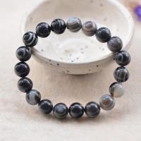 Achat Schmuck Armband, rund, unisex & verschiedene Größen vorhanden, grau, verkauft von Strang