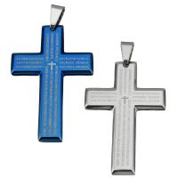 Edelstahl-Kreuz- Anhänger, Edelstahl, mit Brief Muster, keine, 40x59.50x4mm, Bohrung:ca. 6.5x10mm, verkauft von PC
