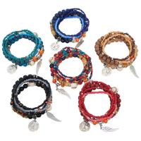 Zinklegierung kombiniertes Armband, mit Seedbead & Harz, silberfarben plattiert, Bohemian-Stil & für Frau, keine, frei von Nickel, Blei & Kadmium, 28mm, Länge:ca. 7 ZollInch, 2SträngeStrang/Menge, verkauft von Menge