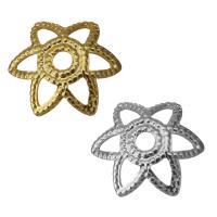 Edelstahl Perle Kappe, Blume, Hohe Qualität überzogen und verblassen nie, keine, frei von Nickel, Blei & Kadmium, 8x7x2mm, Bohrung:ca. 1mm, ca. 1500PCs/Menge, verkauft von Menge