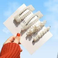 Haarschieber, Zinklegierung, mit ABS-Kunststoff-Perlen, plattiert, verschiedene Stile für Wahl & für Frau, weiß, frei von Nickel, Blei & Kadmium, 5PCs/Menge, verkauft von Menge