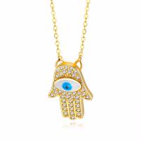 Messing Halskette, Hand, böser Blick- Muster & Micro pave Zirkonia & für Frau, goldfarben, frei von Nickel, Blei & Kadmium, 14x20.50mm, Länge:ca. 17 ZollInch, verkauft von PC