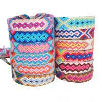 Baumwollgewebe Armband, Bohemian-Stil & für Frau, gemischte Farben, 15mm, Länge:ca. 6.3-11.8 ZollInch, 10SträngeStrang/Menge, verkauft von Menge