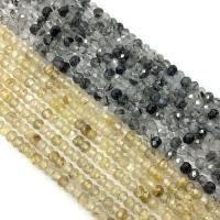 Rutilated Quarz Perle, poliert, facettierte, keine, 4mm, Bohrung:ca. 1mm, ca. 100-130PCs/Strang, verkauft von Strang