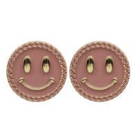 Acryl Knöpfen, Lächelndes Gesichte, plattiert, Emaille, keine, 21x9mm, Bohrung:ca. 2mm, ca. 500PCs/Tasche, verkauft von Tasche