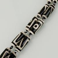 Achat Perlen, weiß und schwarz, 30x11.50x11.50mm, Bohrung:ca. 2.5mm, Länge:ca. 14.5 ZollInch, ca. 5PCs/Menge, verkauft von Menge