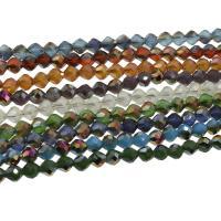 Kristall-Perlen, Kristall, bunte Farbe plattiert, mehrere Farben vorhanden, 6x6mm, 100PCs/Strang, verkauft per ca. 23.22 ZollInch Strang