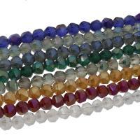 Kristall-Perlen, Kristall, bunte Farbe plattiert, facettierte & satiniert, mehrere Farben vorhanden, 8x8mm, 72/Strang, verkauft per ca. 22.04 ZollInch Strang