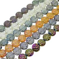 Flache runde Kristall Perlen, bunte Farbe plattiert, mehrere Farben vorhanden, 14x7mm, Bohrung:ca. 1mm, 47PCs/Strang, verkauft per ca. 25.19 ZollInch Strang