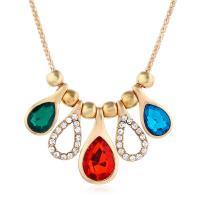 Kristall Zinklegierung Halskette, mit Kristall, plattiert, für Frau & mit Strass, keine, 32x17mm, verkauft per ca. 16.1 ZollInch Strang