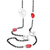 Zinklegierung Pullover Halskette, mit Glas, mit Verlängerungskettchen von 6cm, plattiert, Twist oval & Kugelkette & verschiedene Stile für Wahl & für Frau, frei von Nickel, Blei & Kadmium, 28mm,25mm,20mm, verkauft per ca. 35.44 ZollInch Strang