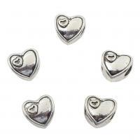 Zinklegierung Herz Perlen, antik silberfarben plattiert, frei von Nickel, Blei & Kadmium, 11x11x8mm, Bohrung:ca. 5mm, 2Taschen/Menge, ca. 166PCs/Tasche, verkauft von Menge
