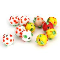 Holprige Lampwork Perlen, uneben, gemischte Farben, 13x12x13mm, Bohrung:ca. 2.5mm, ca. 50PCs/Menge, verkauft von Menge