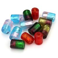 Silberfolie Lampwork Perlen, gemischte Farben, 10-12x14-17x10-12mm, Bohrung:ca. 2mm, ca. 50PCs/Menge, verkauft von Menge