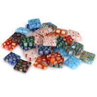 Inneren Blume-Lampwork-Beads, Lampwork, Quadrat, innen Blume, gemischte Farben, 12x12x4mm, Bohrung:ca. 1mm, ca. 50PCs/Menge, verkauft von Menge