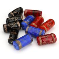 Goldsand Lampwork Perlen, gemischte Farben, 9-11x21-22x9-11mm, Bohrung:ca. 2mm, ca. 50PCs/Menge, verkauft von Menge