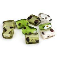 Handgewickelte Perlen, Lampwork, Quadrat, gemischte Farben, 12x16x6-7mm, Bohrung:ca. 2mm, ca. 50PCs/Menge, verkauft von Menge