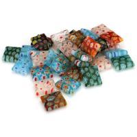 Inneren Blume-Lampwork-Beads, Lampwork, innen Blume, gemischte Farben, 10x12x3.50mm, Bohrung:ca. 1mm, ca. 50PCs/Menge, verkauft von Menge