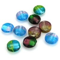Silberfolie Lampwork Perlen, gemischte Farben, 16x7-9mm, Bohrung:ca. 2mm, ca. 50PCs/Menge, verkauft von Menge