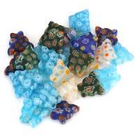 Inneren Blume-Lampwork-Beads, Lampwork, innen Blume, gemischte Farben, 12x10x3.50mm, Bohrung:ca. 1mm, ca. 50PCs/Menge, verkauft von Menge