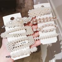 Gemischter Haarschmuck, Kunststoff Perlen, mit Zinklegierung, plattiert, für Frau & mit Strass, weiß, 90*23mm,60*10mm, 8PCs/setzen, verkauft von setzen
