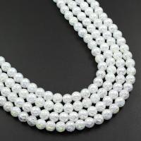 Natürliche Crackle Achat Perlen, Flachen Achat, rund, AB Farben plattiert, verschiedene Größen vorhanden, weiß, verkauft von Strang