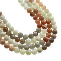 Mondstein Perlen, rund, verschiedene Größen vorhanden, gemischte Farben, verkauft von Strang