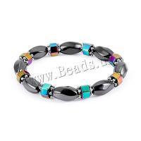 Schwarz+Magnet+Stein Armband, plattiert, elastisch & unisex, schwarz, 15x10mm, verkauft per ca. 6.6 ZollInch Strang