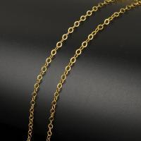 Edelstahl ovale Kette, mit Kunststoffspule, Oval-Kette, Goldfarbe, 3.50x3x0.30mm, ca. 20m/Spule, verkauft von Spule