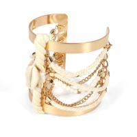 Kombiniertes Armband, Eisen, mit Baumwollfaden & Muschel, goldfarben plattiert, für Frau, frei von Nickel, Blei & Kadmium, 63*60mm, 5SträngeStrang/Menge, verkauft von Menge