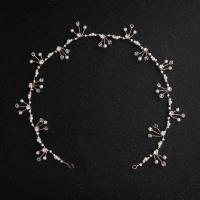 Braut Haarband, Zinklegierung, mit Glasperlen & Kunststoff Perlen, goldfarben plattiert, für Braut, frei von Nickel, Blei & Kadmium, 410mm, verkauft von PC