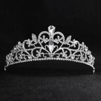 Krone, Zinklegierung, Platinfarbe platiniert, für Braut & mit Strass, frei von Nickel, Blei & Kadmium, 150*50mm, verkauft von PC