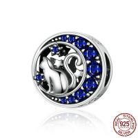 Befestiger Zirkonia Sterlingsilber Perlen, 925er Sterling Silber, plattiert, Micro pave Zirkonia, blau, 11x10x9mm, Bohrung:ca. 4.5mm, verkauft von PC