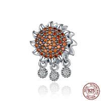 Befestiger Zirkonia Sterlingsilber Perlen, 925er Sterling Silber, Sonnenblume, plattiert, Micro pave Zirkonia, 15x10x10mm, Bohrung:ca. 4.5mm, verkauft von PC