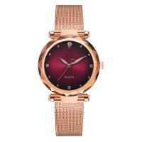 Damen Armbanduhr, Zinklegierung, mit Glas, Rósegold-Farbe plattiert, für Frau & mit Strass, keine, frei von Nickel, Blei & Kadmium, 33x10mm, Länge:ca. 9.06 ZollInch, verkauft von PC