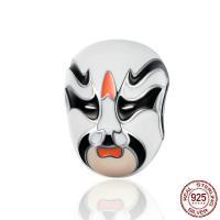 925 Sterlingsilber European Perlen, 925er Sterling Silber, Peking Oper Maske, versilbert, 10x10x13mm, Bohrung:ca. 4.5mm, verkauft von PC