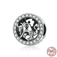 925 Sterlingsilber European Perlen, 925er Sterling Silber, Stier, versilbert, Micro pave Zirkonia, 11x11mm, Bohrung:ca. 4.5mm, verkauft von PC