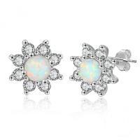 Sterling Silber Schmuck Ohrring, 925er Sterling Silber, mit Opal, Blume, plattiert, für Frau & mit Strass, Silberfarbe, 11x11mm, verkauft von Paar