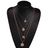 Mode-Multi-Layer-Halskette, Zinklegierung, plattiert, mehrschichtig & für Frau, goldfarben, verkauft per ca. 16.5 ZollInch Strang
