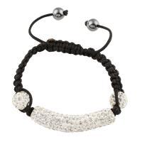 Nylonschnur Woven Ball Armband, mit Ton & Kunststoff Perlen, für Frau, Länge:7.5 ZollInch, 5/Tasche, verkauft von Tasche