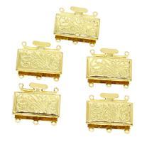 Messing Schnappschließe, goldfarben plattiert, frei von Nickel, Blei & Kadmium, 22x24x4mm, Bohrung:ca. 1mm, ca. 10PCs/Tasche, verkauft von Tasche