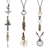 Zinklegierung Pullover Halskette, mit Lederband, plattiert, unisex & verschiedene Stile für Wahl, verkauft per ca. 31.4 ZollInch Strang