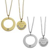 Edelstahl Ehepaar Halskette, mit Ton, mit Verlängerungskettchen von 2inch, Oval-Kette, keine, 24mm,1.5mm,16mm,1.5mm, Länge:ca. 19 ZollInch, ca. 17 ZollInch, verkauft von Paar