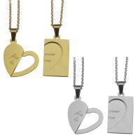 Edelstahl Ehepaar Halskette, Oval-Kette, keine, 20x23mm,1.5mm,15x26mm,1.5mm, Länge:ca. 19 ZollInch, ca. 19 ZollInch, verkauft von Paar