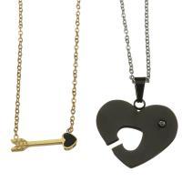 Edelstahl Ehepaar Halskette, Oval-Kette & mit Strass, 21x7mm,1.5mm,26x23mm,1.5mm, Länge:ca. 17 ZollInch, ca. 17 ZollInch, verkauft von Paar