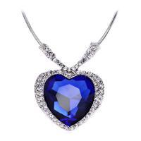 Kristall Zinklegierung Halskette, mit Kristall, mit Verlängerungskettchen von 10cm, Herz, plattiert, verschiedene Stile für Wahl & für Frau & mit Strass, frei von Nickel, Blei & Kadmium, verkauft per 19.5 ZollInch Strang