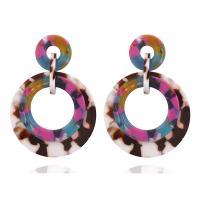 Acryl Tropfen Ohrring, Edelstahl Stecker, Kreisring, für Frau, farbenfroh, 42x60mm, verkauft von Paar