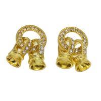 Zink-Legierung Spring Ring Verschluss, Zinklegierung, goldfarben plattiert, mit Strass, frei von Nickel, Blei & Kadmium, 32x14x9mm, ca. 10PCs/Tasche, verkauft von Tasche