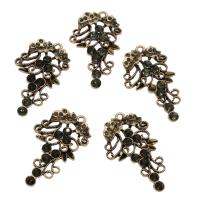 Strass Messing Anhänger, antike Bronzefarbe plattiert, mit Strass, frei von Nickel, Blei & Kadmium, 46x26x5mm, Bohrung:ca. 2mm, ca. 50PCs/Tasche, verkauft von Tasche
