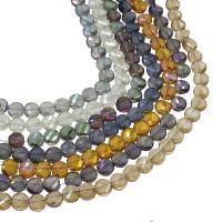 Flache runde Kristall Perlen, bunte Farbe plattiert, verschiedene Größen vorhanden & facettierte, mehrere Farben vorhanden, verkauft per ca. 22.83 ZollInch, ca. 21.65 ZollInch Strang
